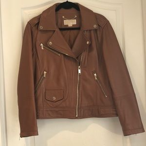 Michael Kors Leather Moro Jacket in Luggage Sz XL